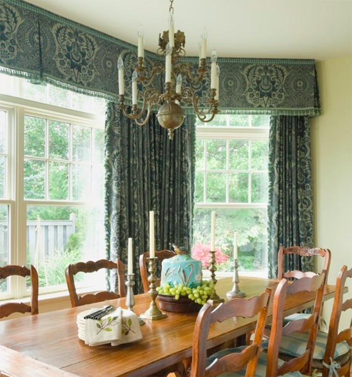 Window treatments for large windows with transoms window.
