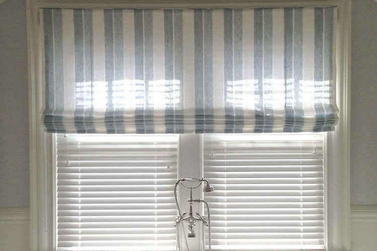 Bathroom Flat Fold Roman Shade
