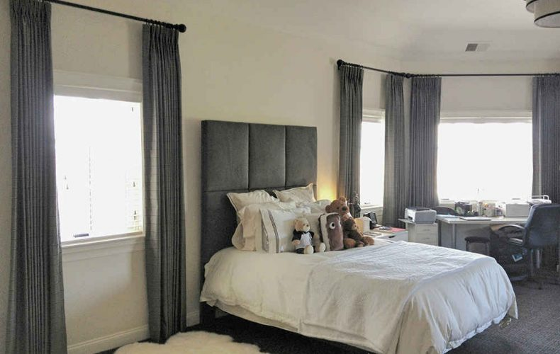 Bedroom Drapes And Hunter Douglas Wood Blinds