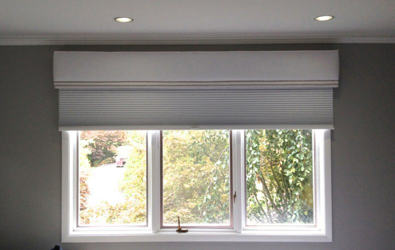 Cornice With Nail Heads And Blackout Hunter Douglas Duettes