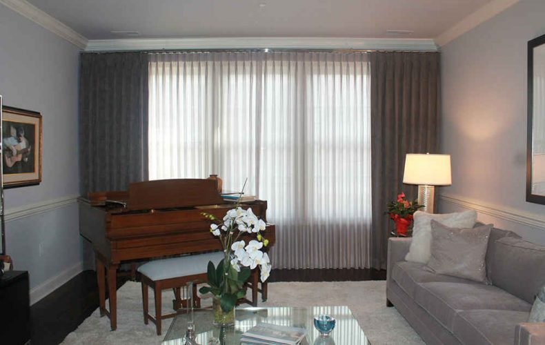 Double Rod Drapes And Sheer Panels