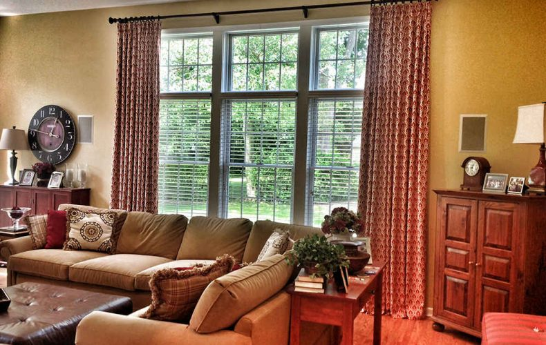 Family Room Pinch Pleated Panels 2 Inch Wood Blinds