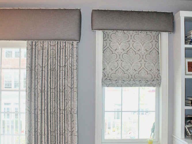 Flat Roman Shade With Cornice Operable Drape
