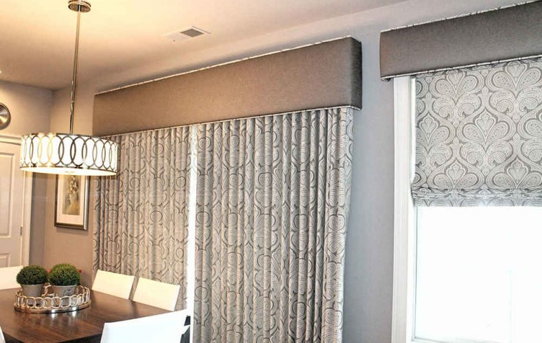 Flat Roman Shade With Cornice Operable Drape With Cornice