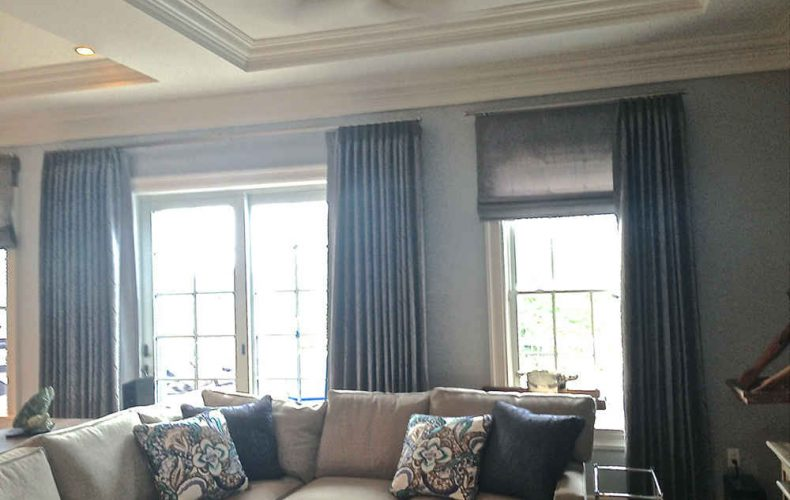 Inverted French Pleat Panels Flat Roman Shade And Pillows