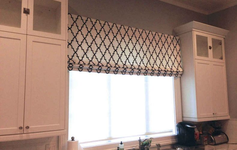 Kitchen Flat Fold Roman Shade And Solar Screen Shade