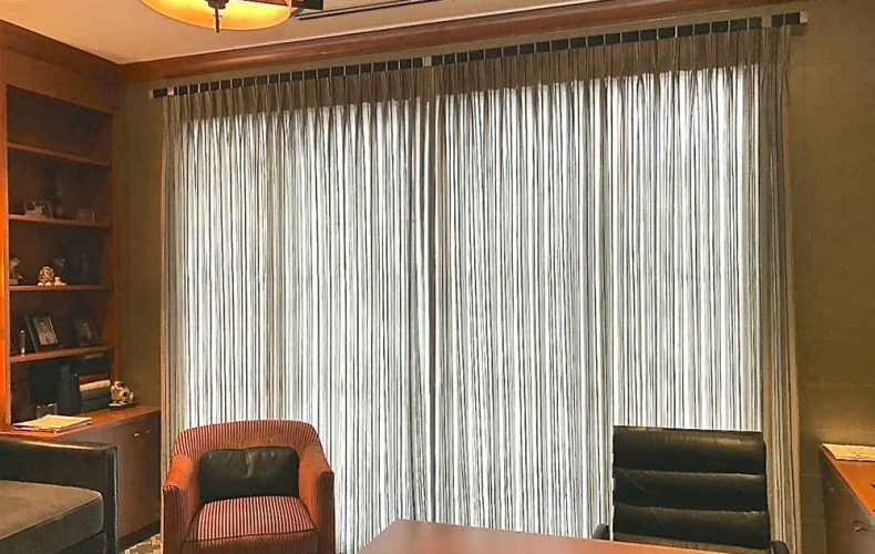 Richard Carpenter Interiors Office Inverted French Pleated Panels