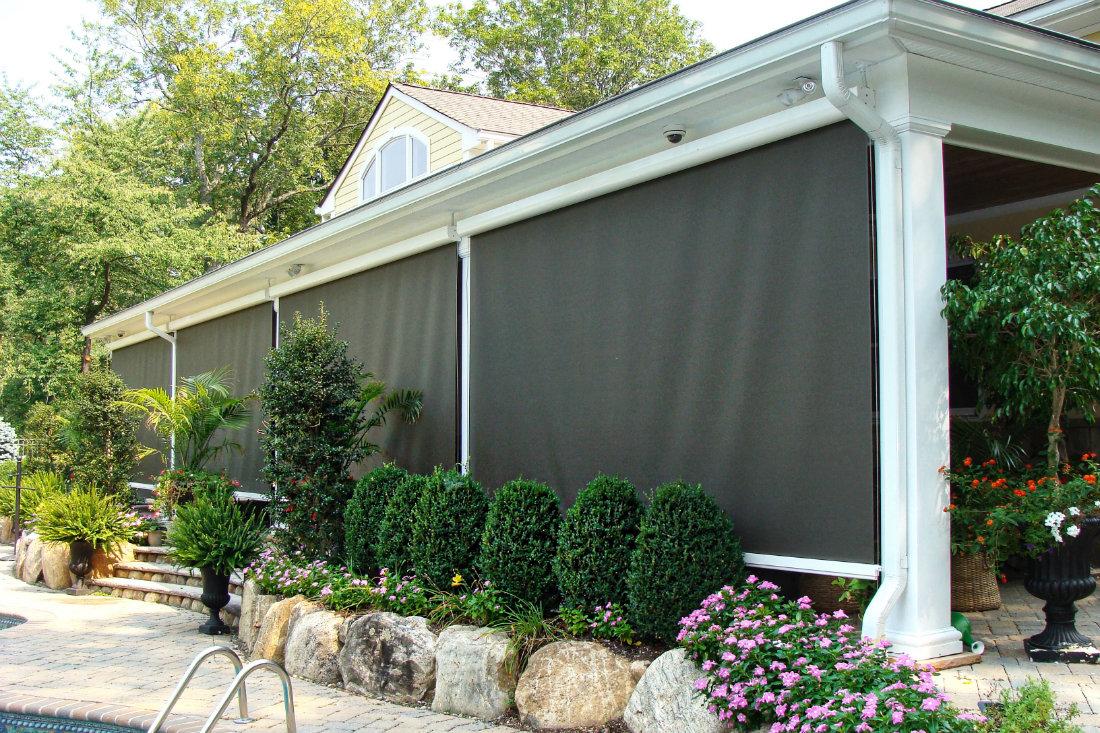 Green Beige Neutral Purple Drop Screen Outdoor Shade Window Works Nj