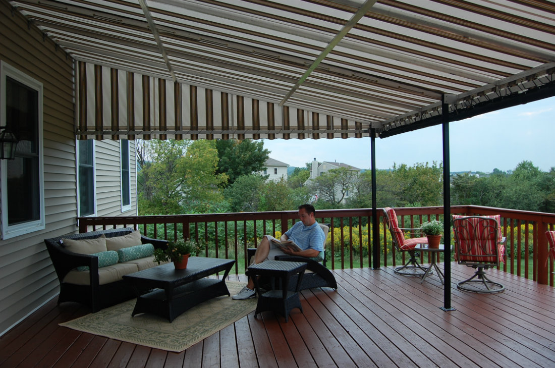 Stationary Canopy Weathermaster Sunbrella Fabric With Drop Curtains Window Works Nj